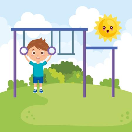 Niño en el parque, diseño de ilustraciones vectoriales de personajes