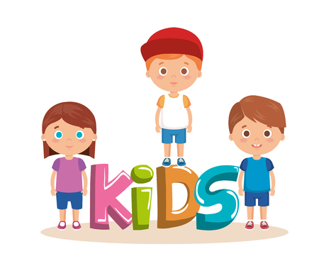 group of little kids with word characters vector illustration design Illustration