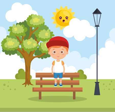 little boy in the park character vector illustration design Standard-Bild - 110361134