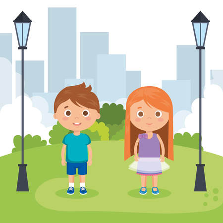 couple little kids in the park characters vector illustration design
