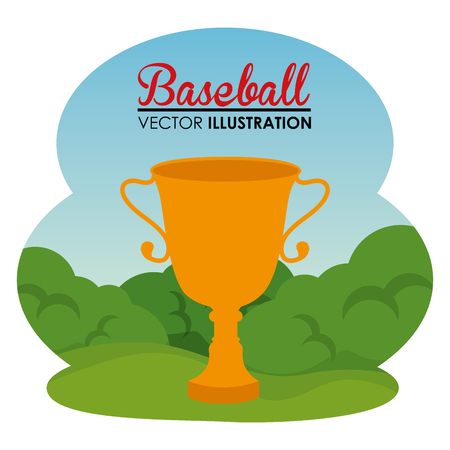 baseball sport with trophy cup vector illustration design