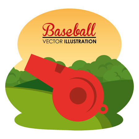 baseball sport with referee whistle vector illustration design Illustration