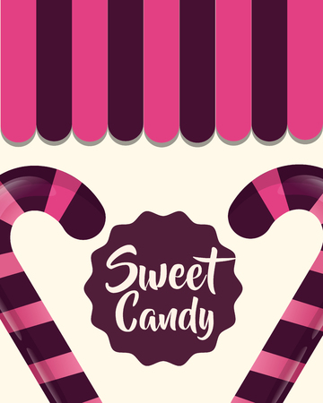 sweet candy cane delicious decoration vector illustration