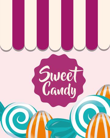 sweet candy mint almonds caramels vector illustration Illustration