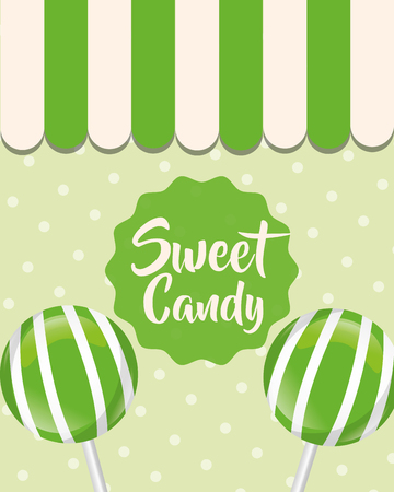 sweet candy store green lollipops vector illustration