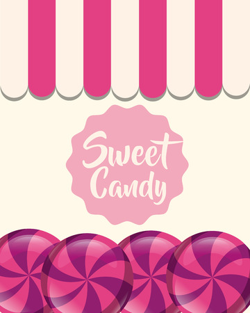 sweet candy caramels sticker sign vector illustration