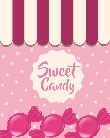 sweet candy caramels delicious dotted background vector illustration Foto de archivo - 110332458