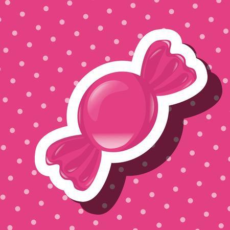 sweet candy wrapped caramel dotted background vector illustration Ilustração