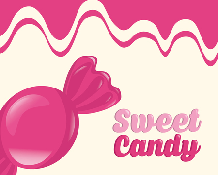 sweet candy wrapped caramel pink background vector illustration