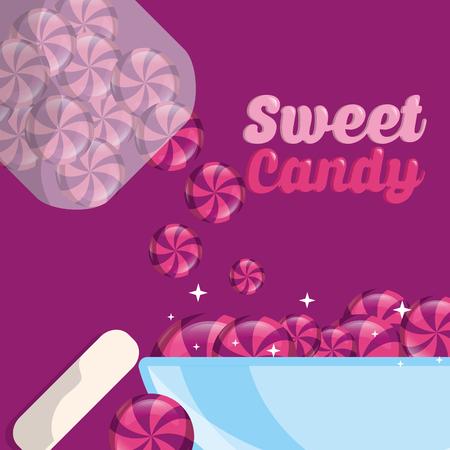 sweet candy jar throwing caramels plate vector illustration Illustration