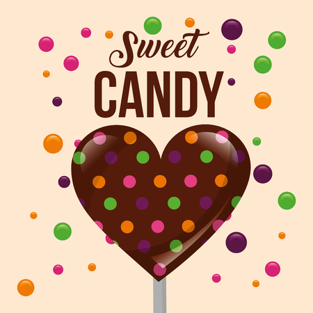 sweet candy heart chocolate chips vector illustration