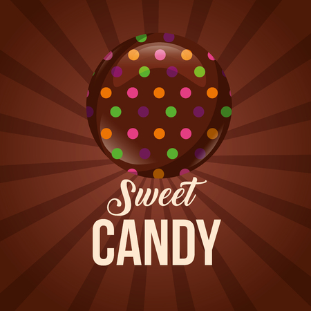 sweet candy sign stuffed chips chocolate vector illustration