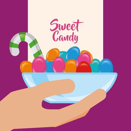 sweet candy hand holding plate caramels vector illustration Illustration