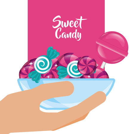 sweet candy hand holding deep plate caramels lollipop vector illustration