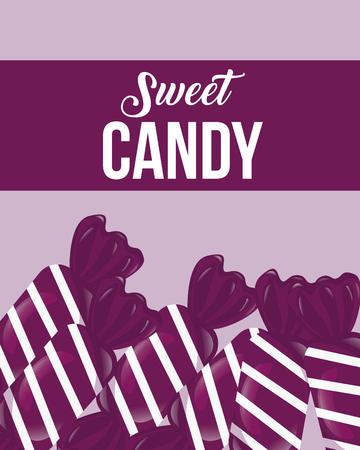 sweet candy ribbon sign caramels purple vector illustration Illustration