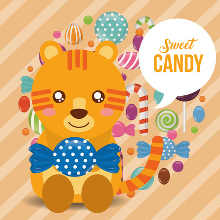 sweet candy tiger holding wrapped caramels colors vector illustration