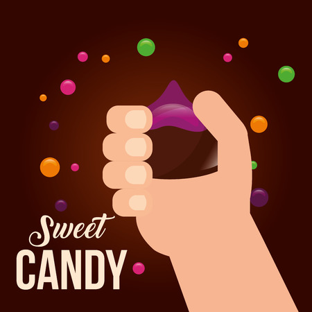 sweet candy hand holding macaron chocolate chips vector illustration 向量圖像