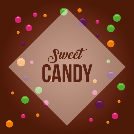 sweet candy figure sign almonds flavors vector illustration