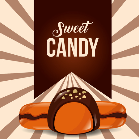 sweet candy sign ribbon maracons vector illustration