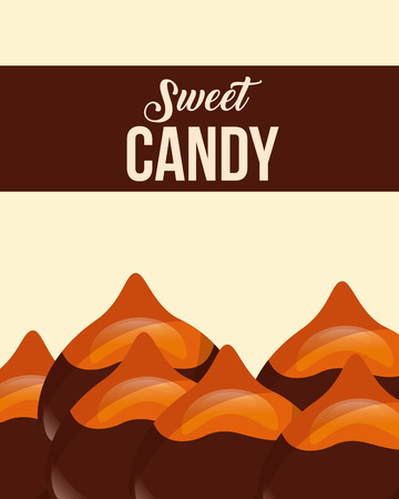 sweet candy chocolate macarons ribbon sign vector illustration
