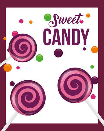 sweet candy frame chips lollipops vector illustration Ilustração
