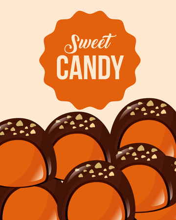 sweet candy macarons chocolate sticker sign vector illustration Illustration