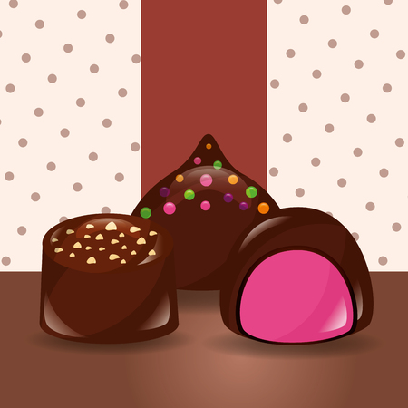 sweet candy chocolate chips macarons flavors dotted background vector illustration Illustration