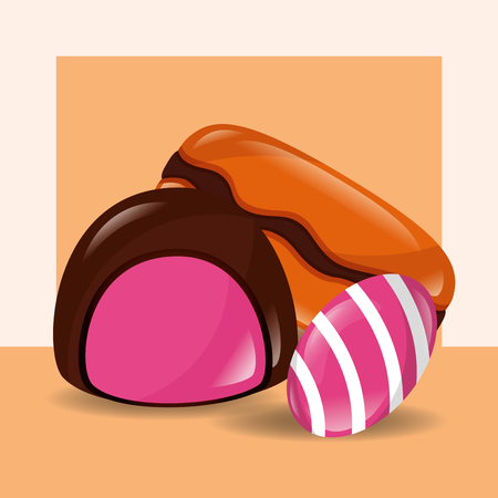 sweet candy macaron almond caramels vector illustration 向量圖像