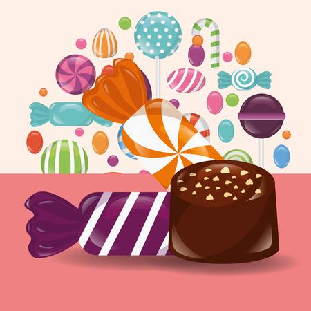 sweet candy caramel macaron chocolate flavors vector illustration