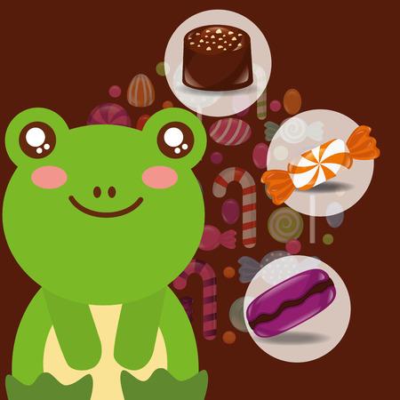 sweet candy cute frog smiling sticker caramel macaron chocolate vector illustration Illustration