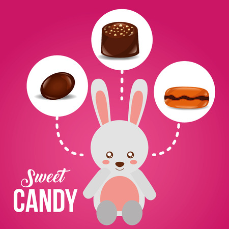 sweet candy rabbit stickers almond macaron chocolate vector illustration