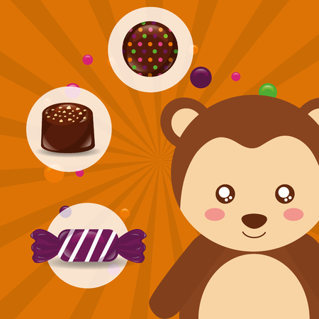 sweet candy monkey smiling stickers caramels vector illustration
