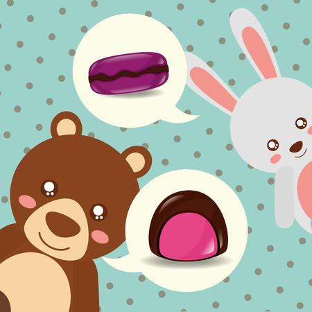 sweet candy bear rabbit smiling macarons flavors vector illustration Standard-Bild - 110332514