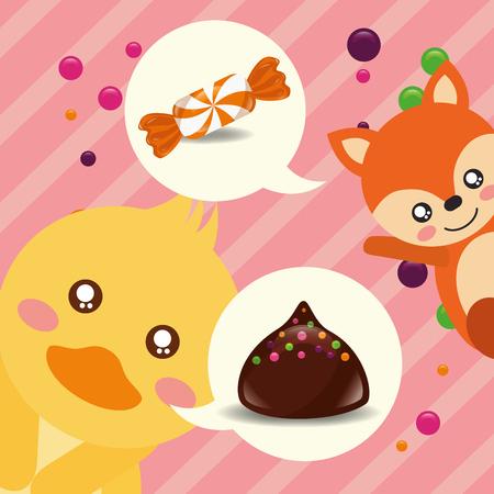 Ilustración de vector de chips de chocolate de macarrón de caramelo de pato de caramelo dulce Ilustración de vector