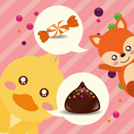 sweet candy duck fox caramel macaron chocolate chips vector illustration