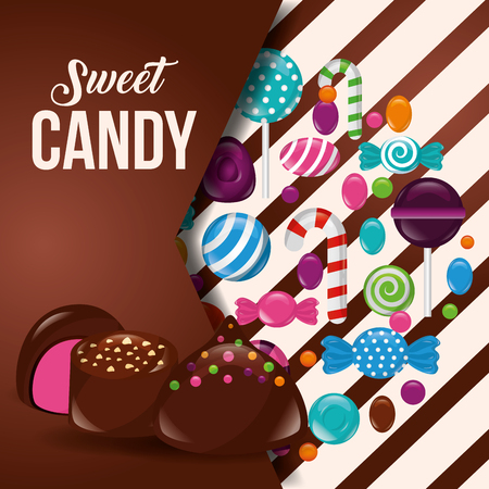 sweet candy macarons chocolate chips caramels background vector illustration Stock Vector - 107648130