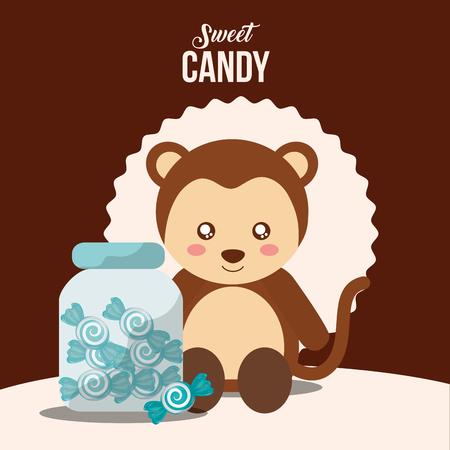 sweet candy monkey jar mints caramels vector illustration