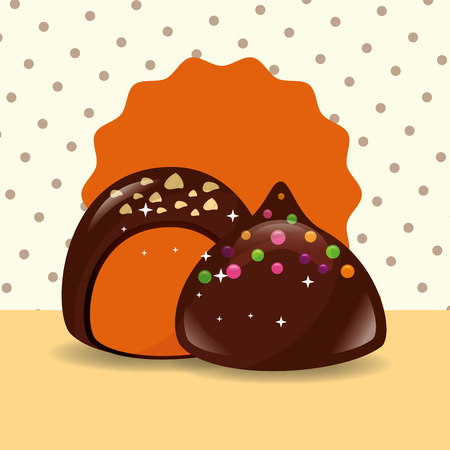 sweet candy chocolate chips macarons vector illustration