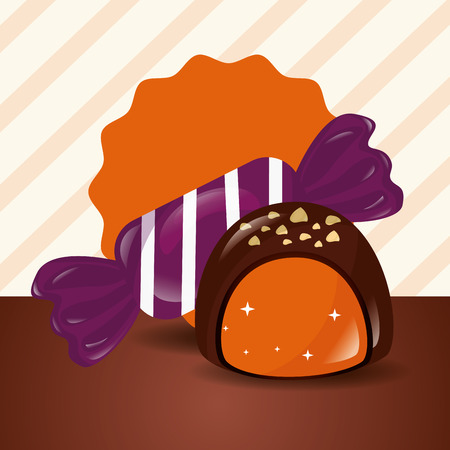 sweet candy caramel chocolate macaron stripes background vector illustration