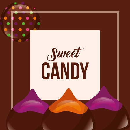 sweet candy frame sign flavors macarons vector illustration
