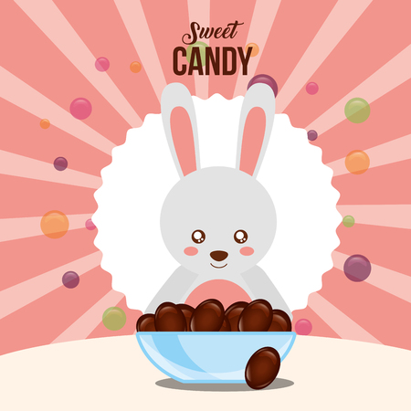 sweet candy sticker rabbit plate chocolates chips background vector illustration Standard-Bild - 110332521