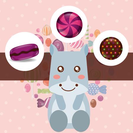 sweet candy cow caramels lollipops stuffed vector illustration Stok Fotoğraf - 110332523