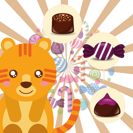 sweet candy tiger smiling caramels macarons chocolate chips vector illustration