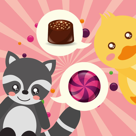 sweet candy raccon duck thinking caramels macarons vector illustration 向量圖像