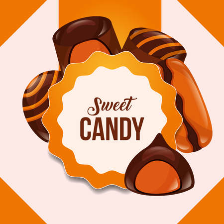 sweet candy sticker sign chocolates macarons vector illustration