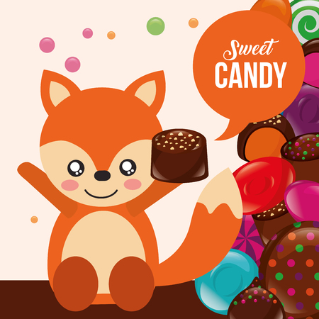 sweet candy fox hands up holding chocolate macaron vector illustraiton