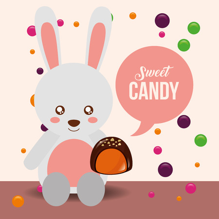 sweet candy cute rabbit holding chocolate macaron chips vector illustration