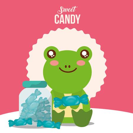 sweet candy frog holding mint jar caramels vector illustration Illustration