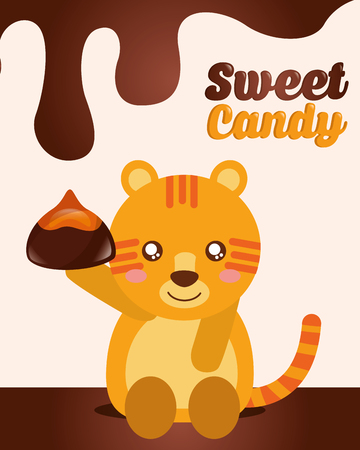 sweet candy tiger holding chocolate macaron vector illustration