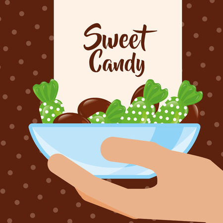 sweet candy hand holding deep plate chocolate green caramel vector illustration